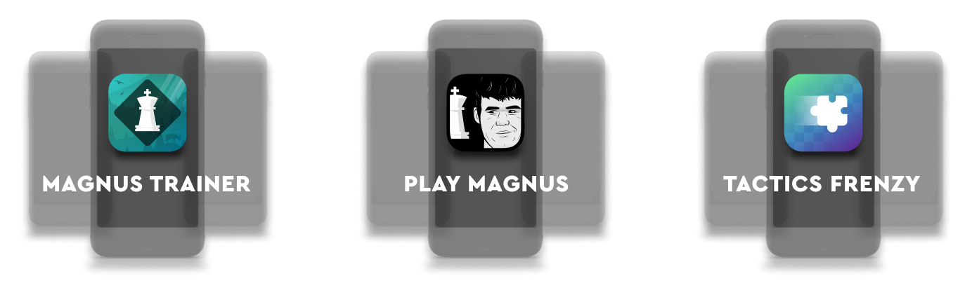 A lineup of the apps made by Play Magnus App Suite